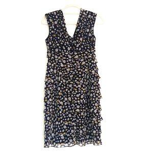 Adrianna Papell Polkadot tiered ruffle navy dress